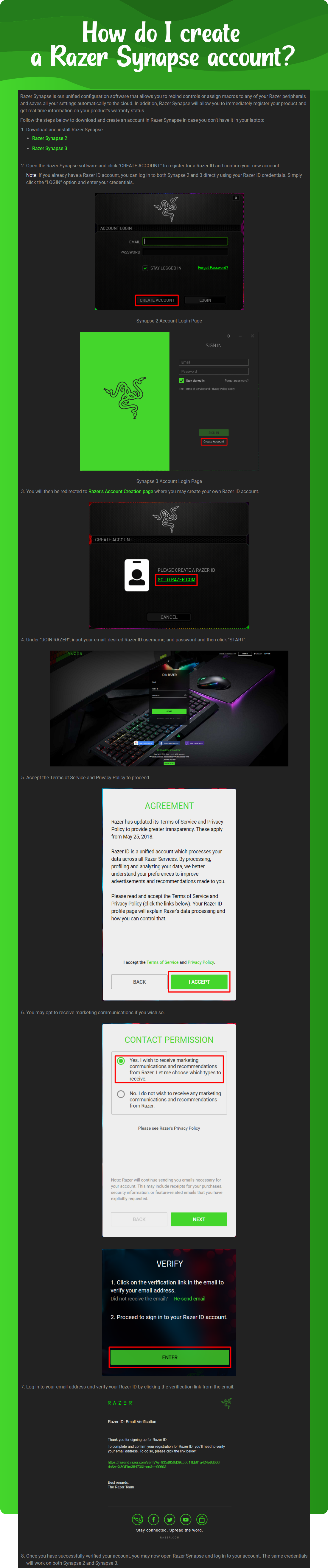 How do I create a Razer Synapse account