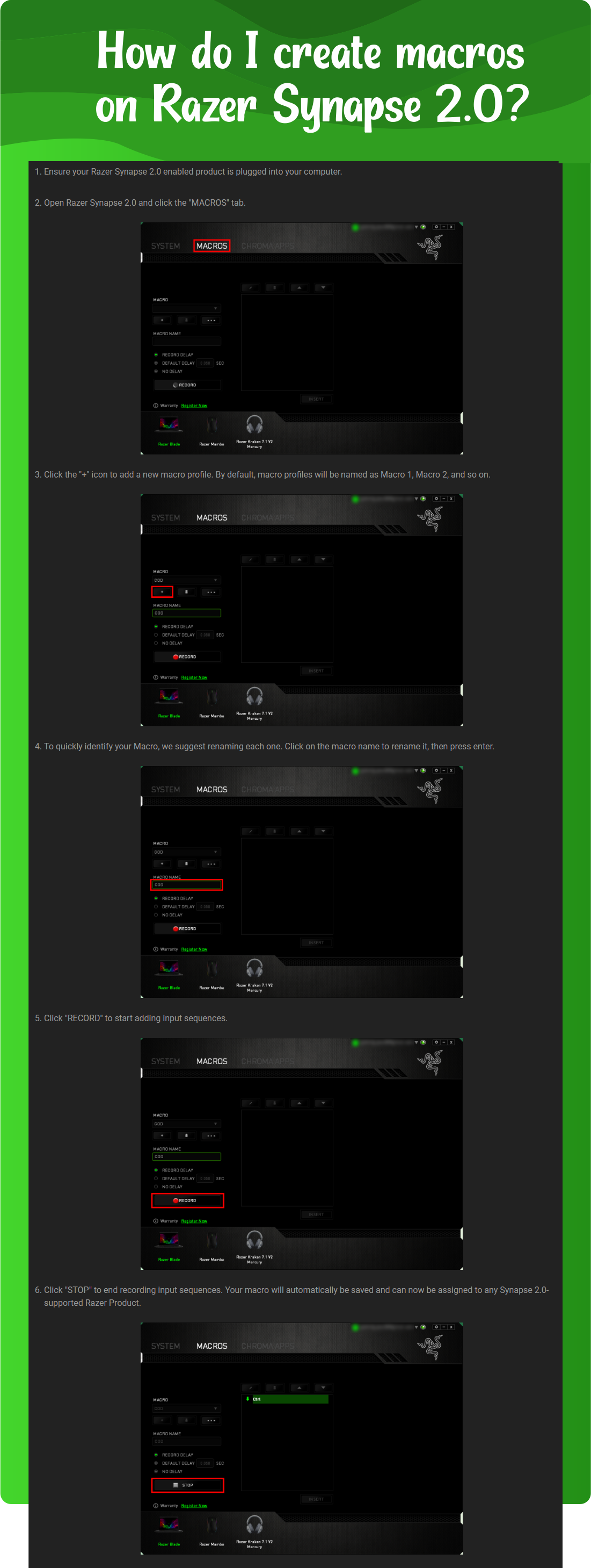 How do I create macros on Razer Synapse 2.0